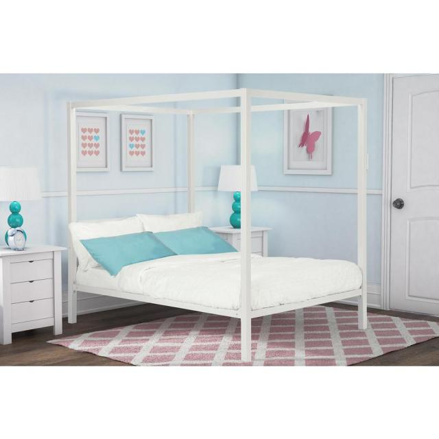 Dhp Modern Metal Canopy Full Size Bed Frame In White