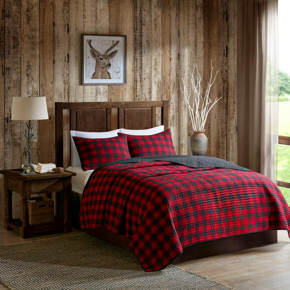 woolrich check 3 piece red king cal king oversized quilt mini set wr14 1784 the home depot
