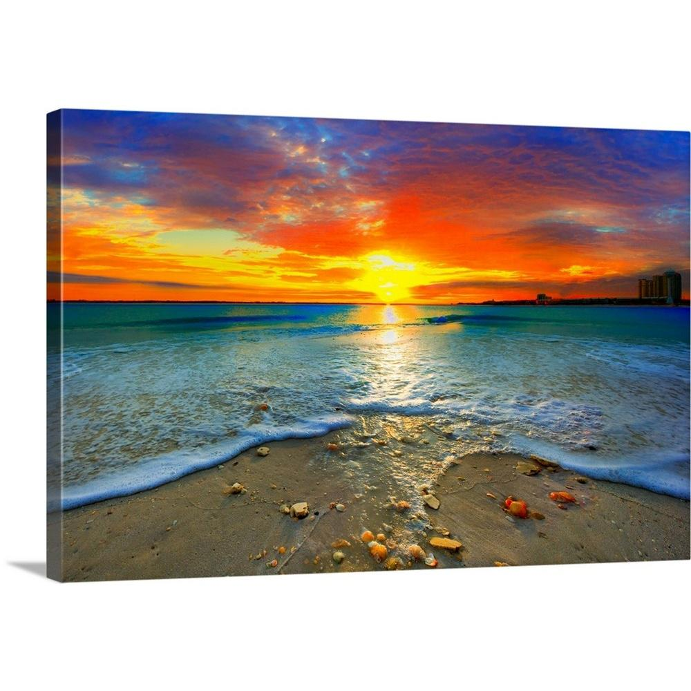 GreatBigCanvas 36 In X 24 In Amazing Red Sunset Over