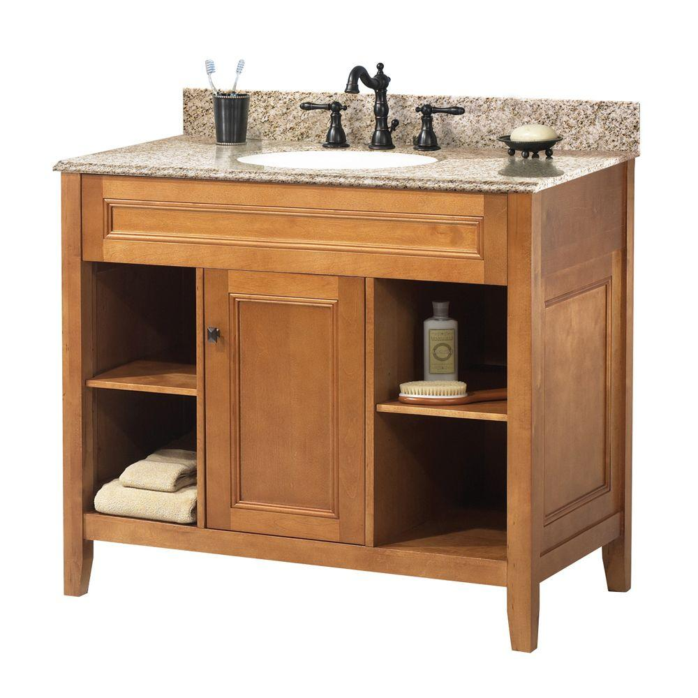 foremost exhibit 37 in. w x 22 in. d bath vanity in rich cinnamon