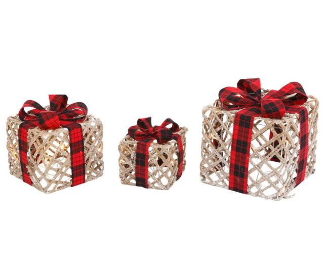 H Lighted Filigree Holiday Gift Boxes With Bows