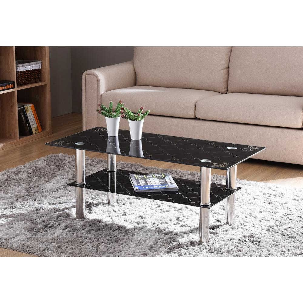 hodedah 40 in black medium rectangle glass coffee table with chrome plated legs hict22 the home depot