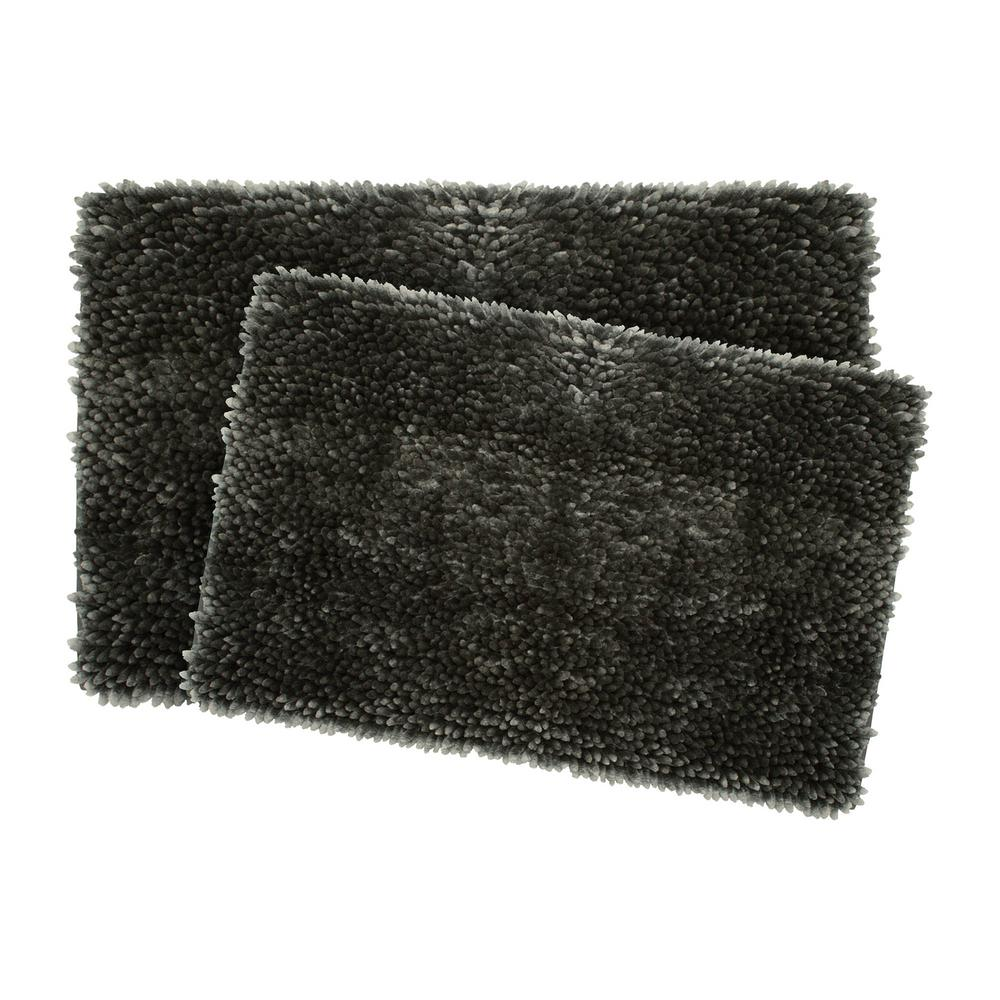 jean pierre mega butter chenille 17 in x 24 in 20 in x 32 in 2 piece bath mat set in charcoal ymb006516 the home depot