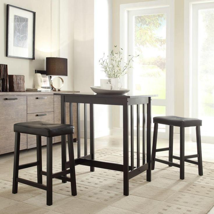 hubbard lane 3-piece black bar table set-405310bk(mtl) - the home depot