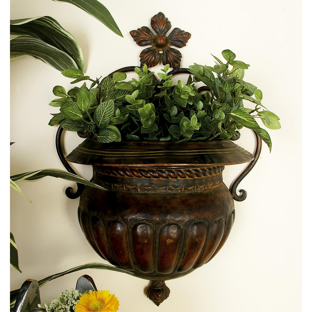 3R Studios Silver Iron Hanging Planter-DA7381 - The Home Depot on Iron Wall Vases id=13216