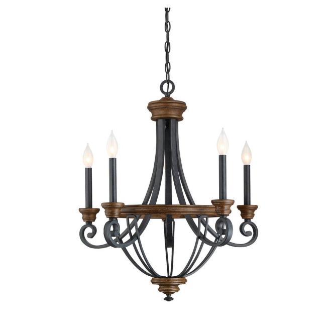 Filament Design 5 Light Whiskey Wood Chandelier