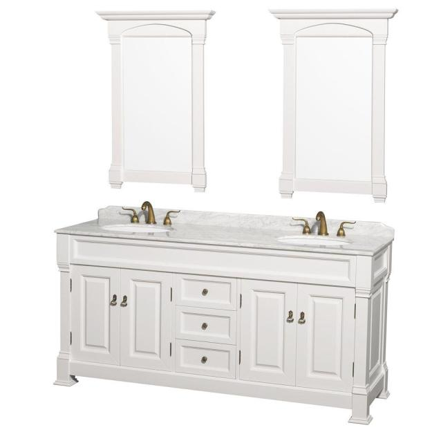 wyndham collection andover 72 in. double vanity in white with marble