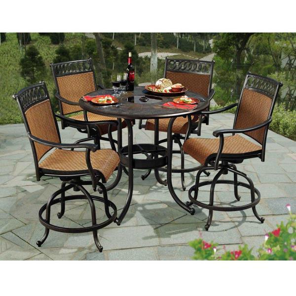 home depot 5 piece patio dining sets Sunjoy Seabrook 5-Piece Patio High Dining Set-L-DN899SAL-A