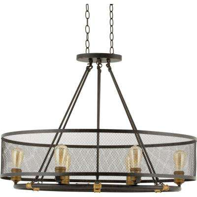 Mayfield Park Collection 6 Light Forged Bronze Oval Chandelier With Mesh Shade
