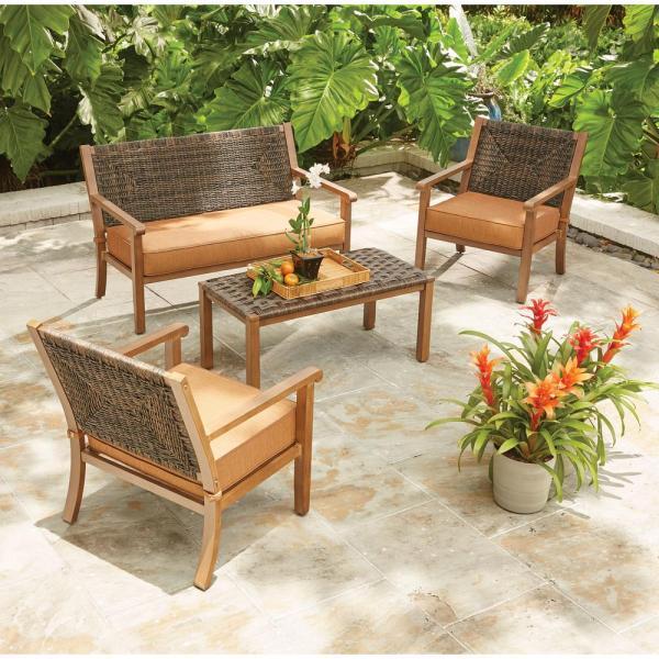 outdoor wicker patio conversation sets Hampton Bay Kapolei 4-Piece Wicker Patio Conversation Set