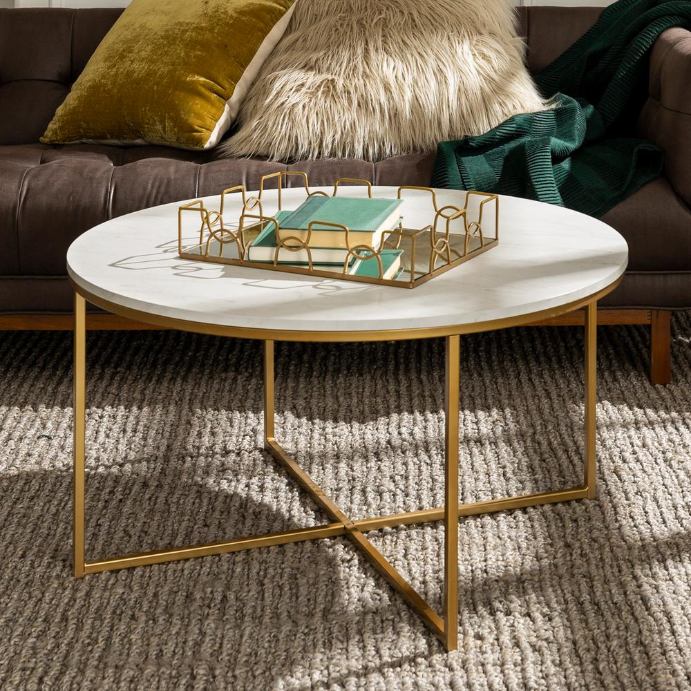 walker edison furniture company 36 in white gold medium round faux marble coffee table with x base hdf36alctmgd the home depot