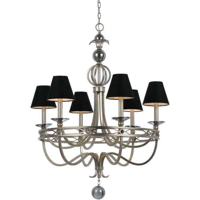 Af Lighting Cirque 6 Light Silver Glint Chandelier With Black Shade