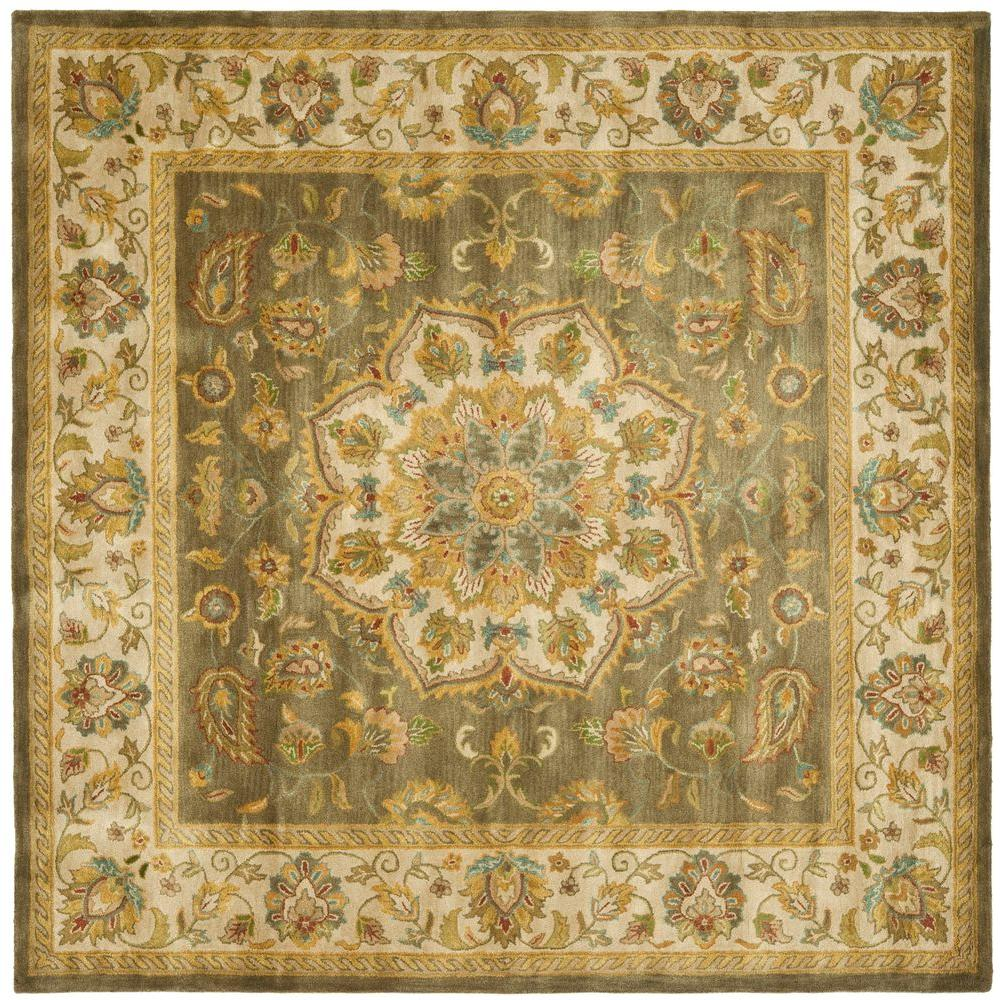safavieh heritage green taupe 8 ft x 8 ft square area rug hg954a 8sq the home depot