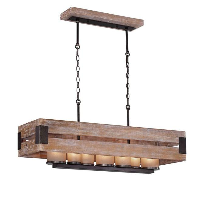 Home Decorators Collection Ackwood 7 Light Wood Rectangular Chandelier 26365 Hbu The Depot