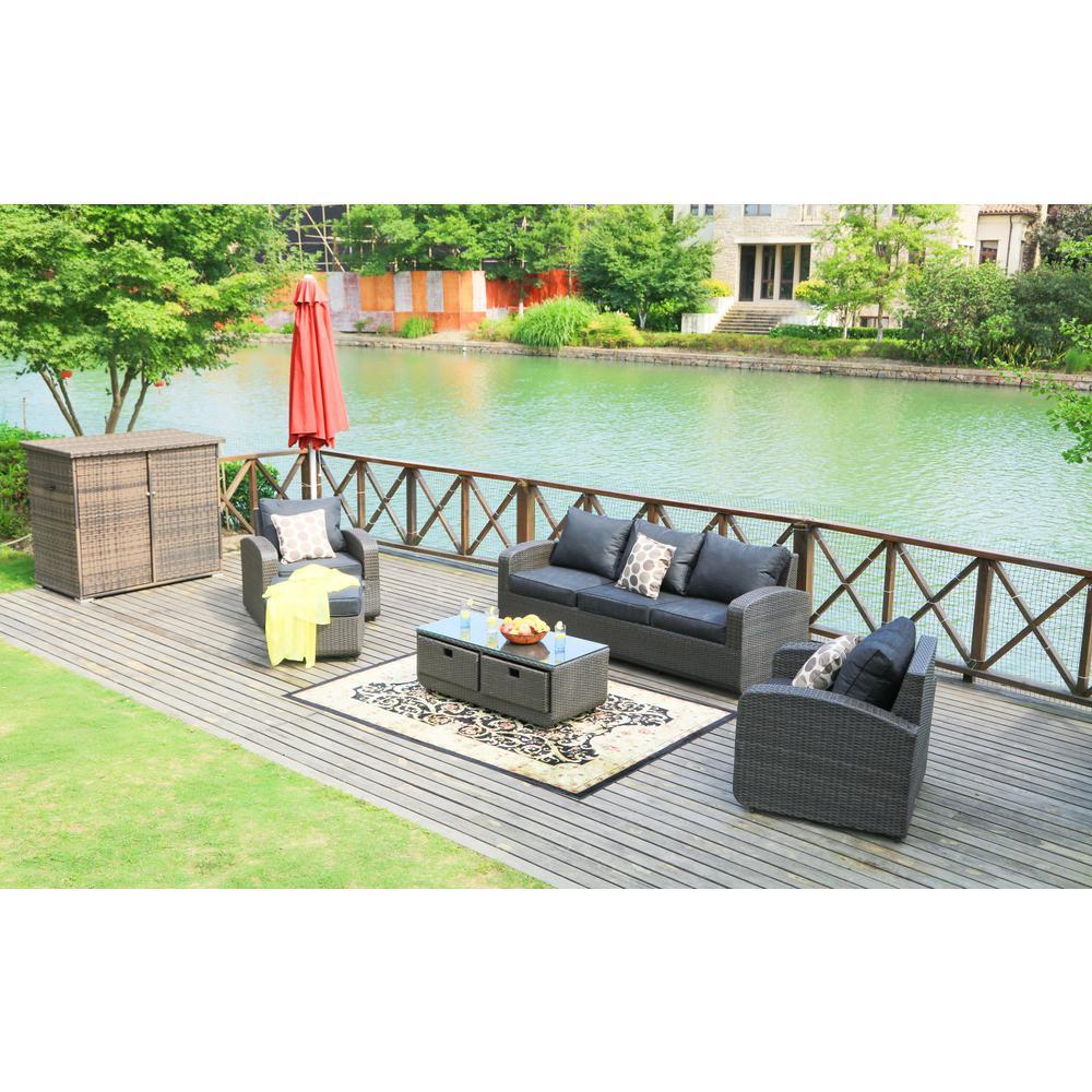 strathmere black 5 piece wicker patio conversation set with black cushions