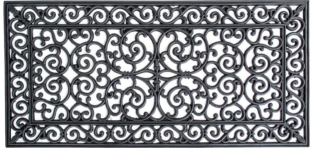 Amerihome Decorative Scrollwork Indoor Outdoor Entryway Rubber | Decorative Rubber Stair Treads | Modern Exterior Stair | Pattern | Pie Shaped | Abrasive | Dark Wood Step