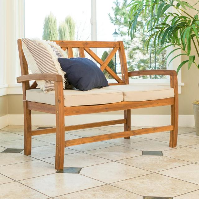 walker edison furniture company acacia wood outdoor loveseat with
