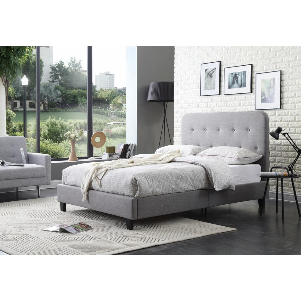 Hodedah Gray Full Size Upholstered Panel Bed with Tufted Headboard     This review is from Upholstered Panel Bed with Tufted Gray Queen Size  Headboard
