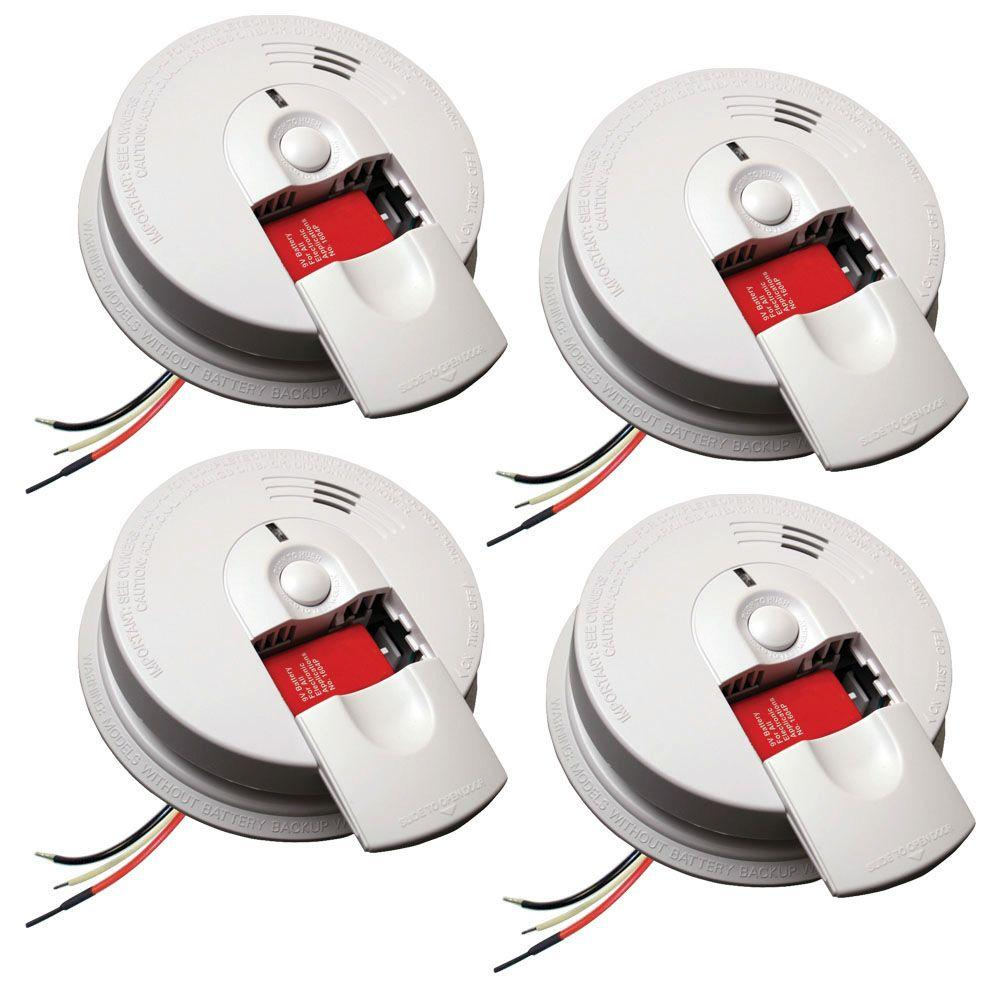 Kidde Firex Hardwire Smoke Detector With 9 Volt Battery Backup And Front Load Battery Door 4 Pack 21029887 The Home Depot