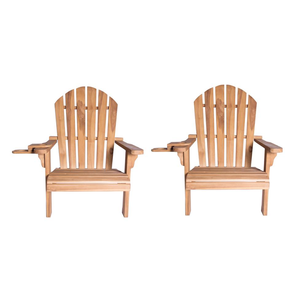 luxeo redondo teak wood adirondack chair and cup holder 2 pack lux 7407 kit2 the home depot