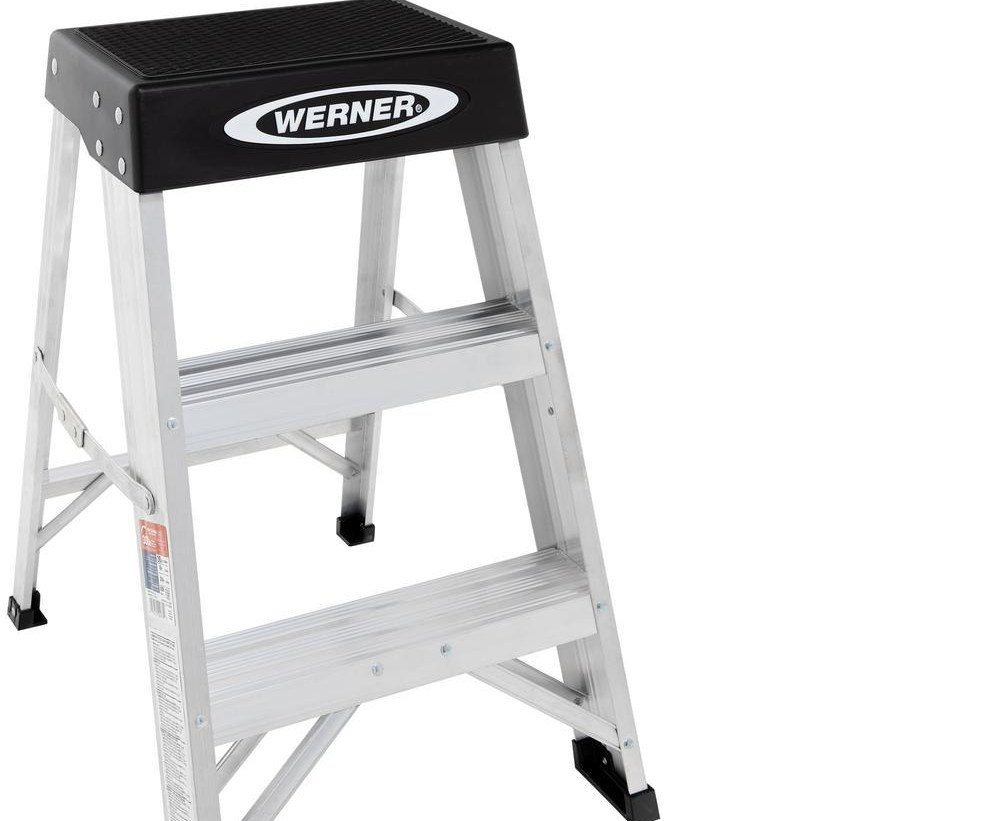 Werner 2 Ft Aluminum Step Ladder With 300 Lb Load Capacity Type | Metal Steps Home Depot | Roofing | Galvanized Steel | Step Stool | Gorilla Ladders | Wrought Iron Railings