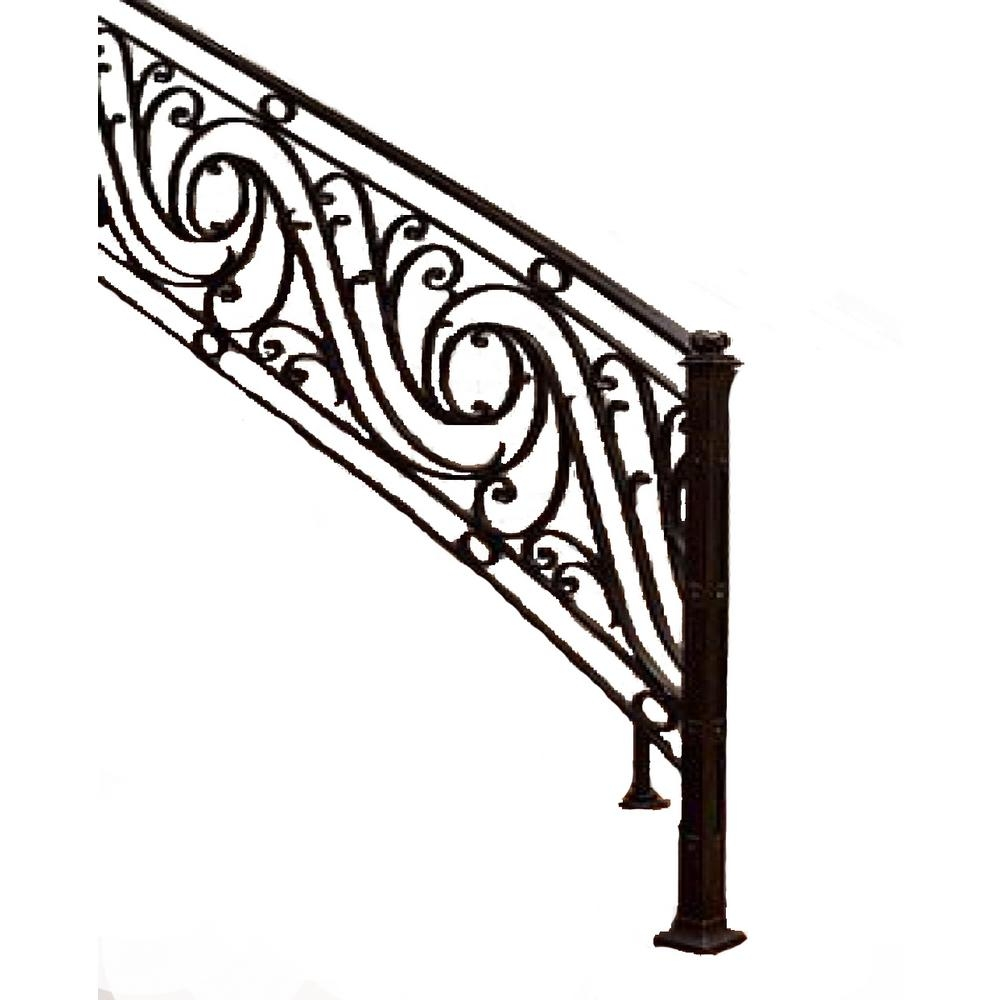 96 In L X 38 In H Finished Black Wrought Iron Baluster Railing | Indoor Wrought Iron Railings Home Depot | Cast Iron | Balcony | Iron Baluster | Wood | Iron Stair Rail