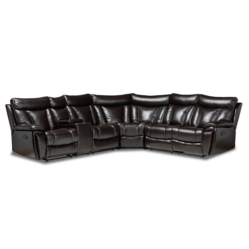 baxton studio lewis 6 piece brown faux leather 6 seater curved reclining sectional sofa 163 10468 hd the home depot