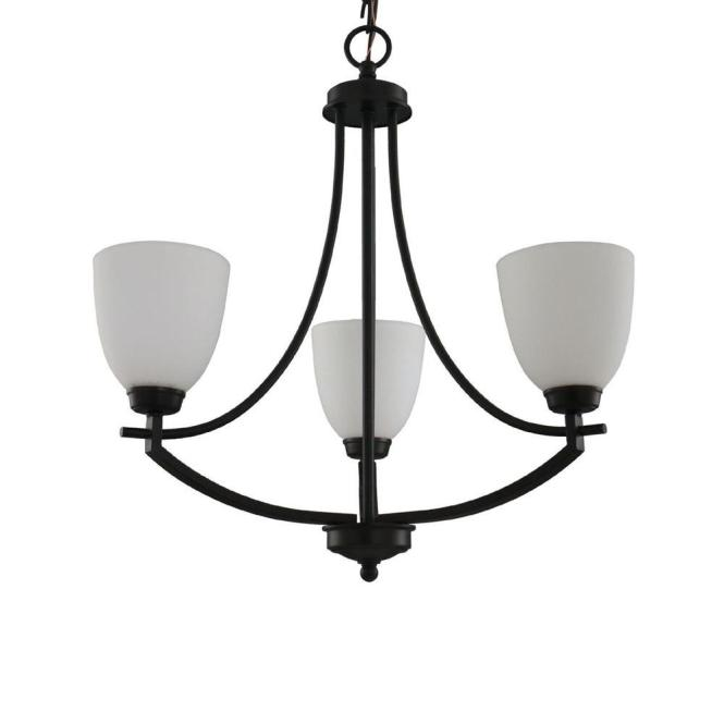 Hampton Bay 3 Light Bronze Chandelier With White Frosted Glass Shade