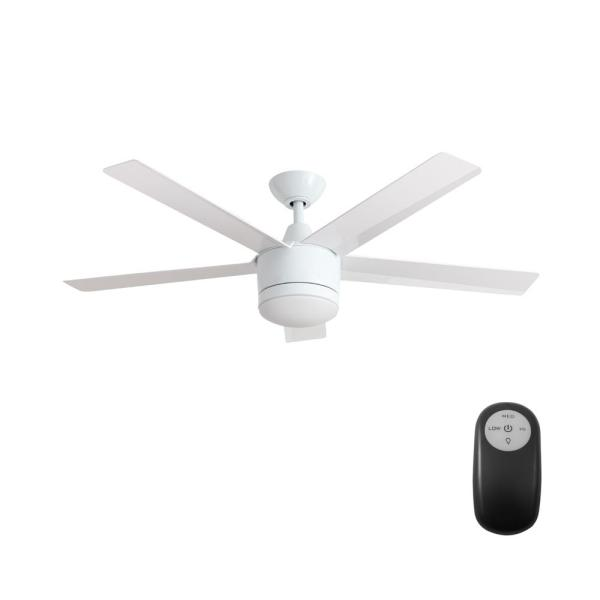 Home Decorators Collection Merwry 52 in  Integrated LED Indoor White     Home Decorators Collection Merwry 52 in  Integrated LED Indoor White Ceiling  Fan with Light Kit