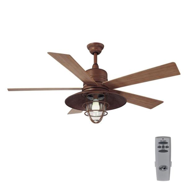 Home Decorators Collection Grayton 54 in  LED Indoor Outdoor Rustic     Indoor Outdoor Rustic Copper Ceiling Fan with Light Kit and Remote Control
