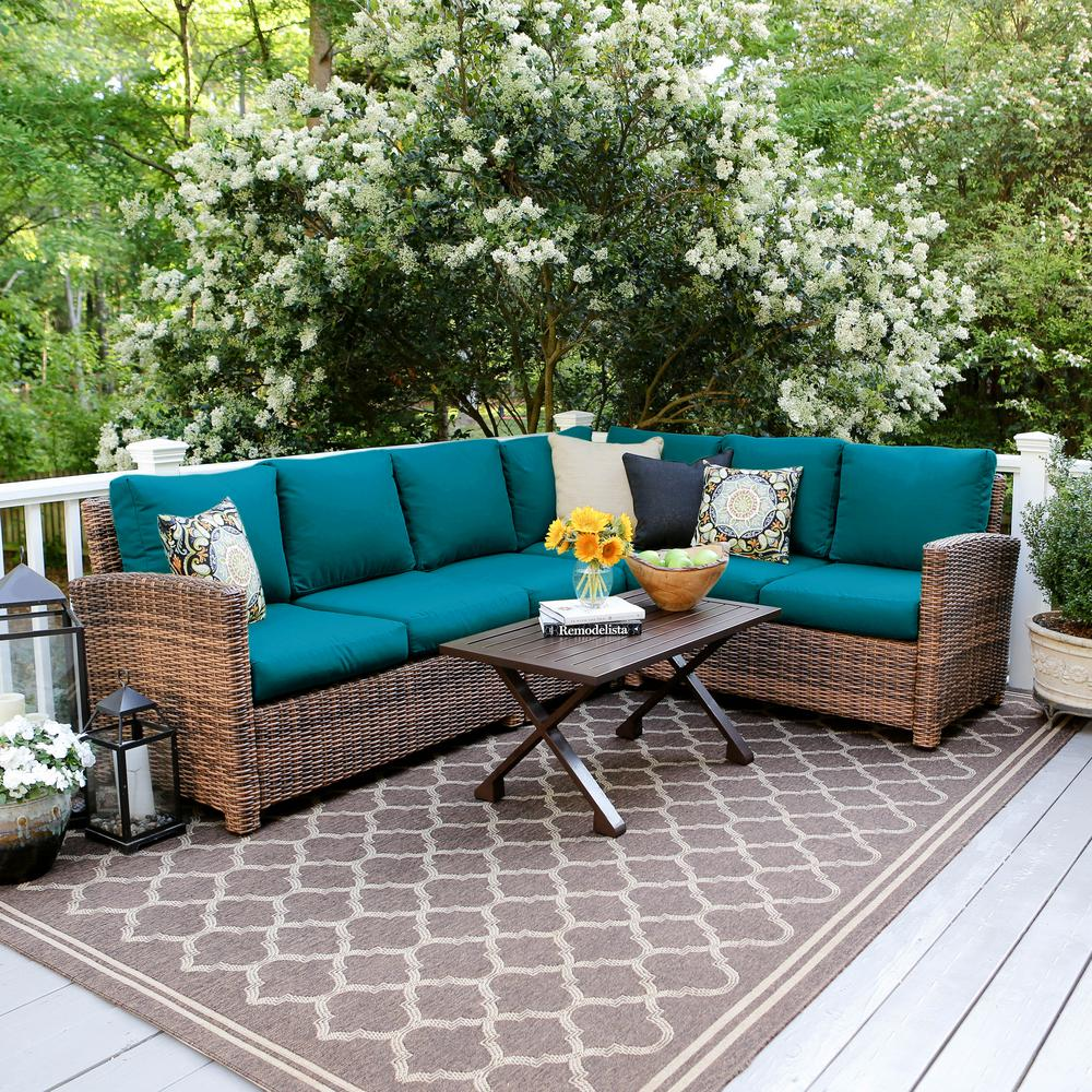 Leisure Made Dalton 5-Piece Wicker Outdoor Sectional Set ... on 5 Piece Sectional Patio Set id=27664
