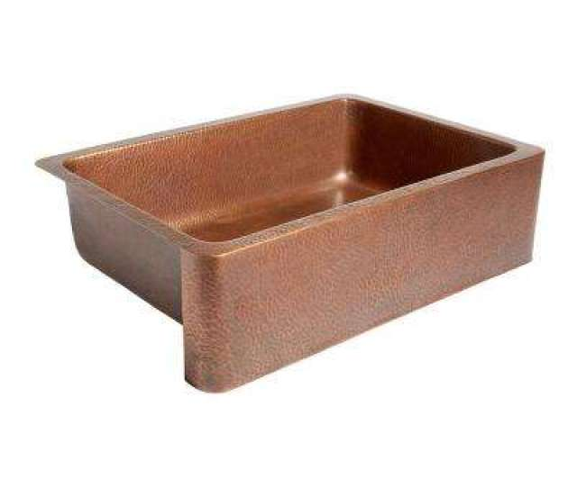 Adams Farmhouse Apron Front Handmade Pure Solid Copper  In Single Bowl Kitchen Sink In