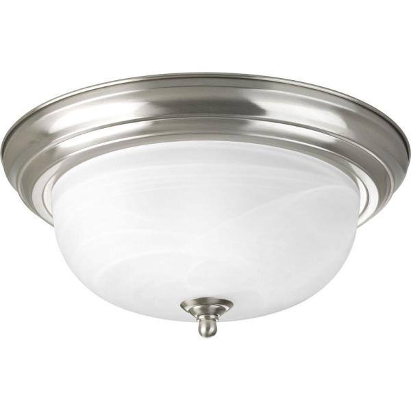 Progress Lighting 13 25 in  2 Light Brushed Nickel Flushmount with     Progress Lighting 13 25 in  2 Light Brushed Nickel Flushmount with  Alabaster Glass