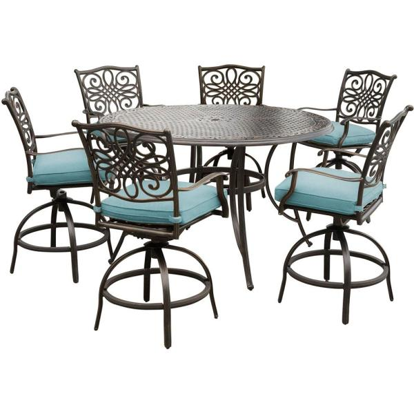 outdoor bar height patio dining sets Hanover Traditions 7-Piece Outdoor Bar-Height Dining Set