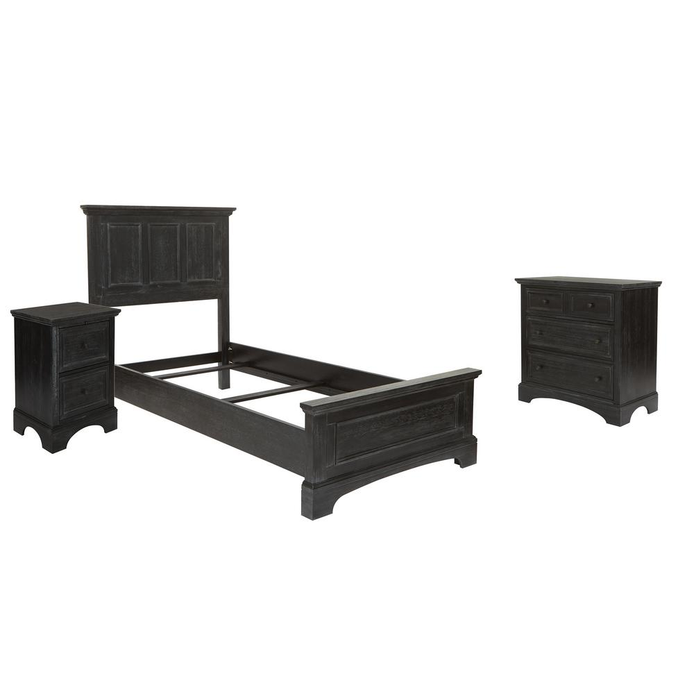 osp home furnishings farmhouse basics twin bed set with chest of drawers and nightstand in rustic black 5 pieces bp 4200 110b the home depot