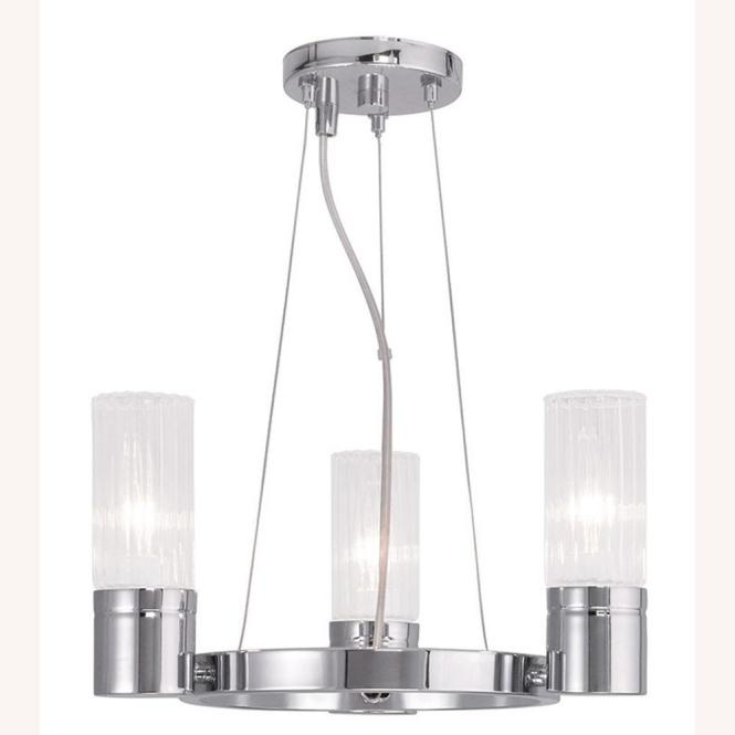 Midtown 3 Light Chrome Mini Chandelier With Hand Crafted Clear Fluted Glass