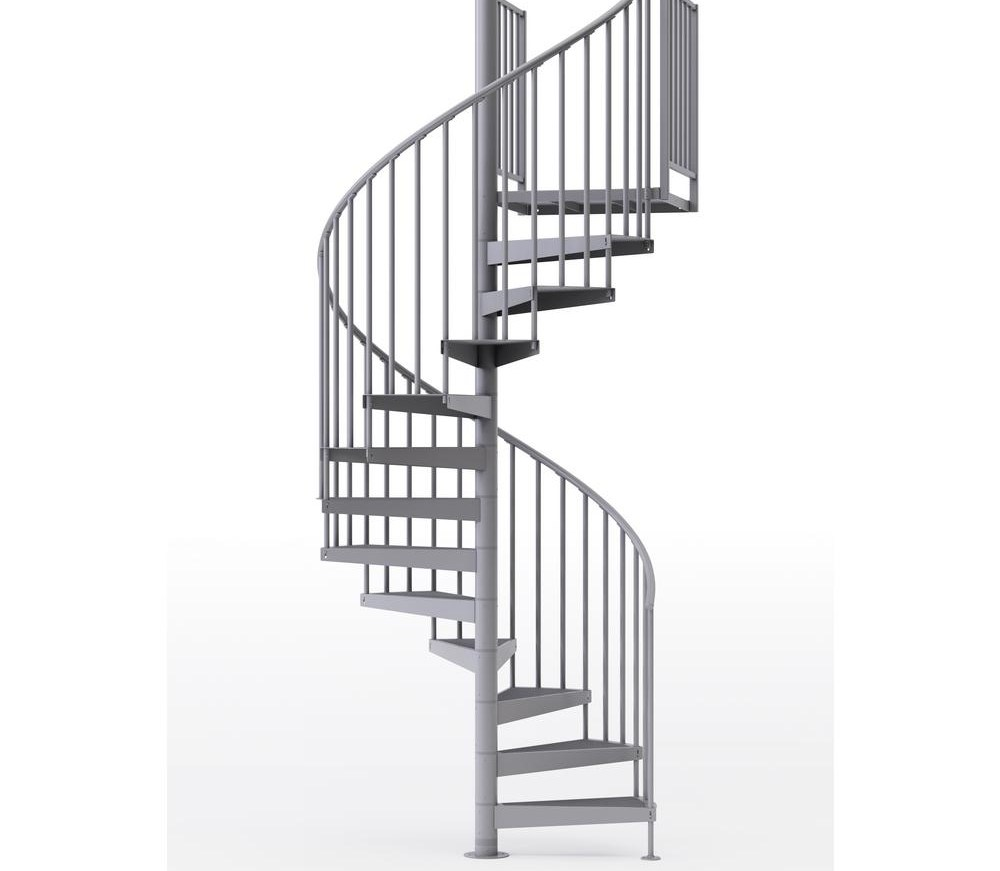 Mylen Stairs Condor Gray 60 In 5 Ft In Wide 12 Treads With   5 Foot Spiral Staircase   Metal   Hayden Gray   Reroute Galvanized   Steel   Handrail