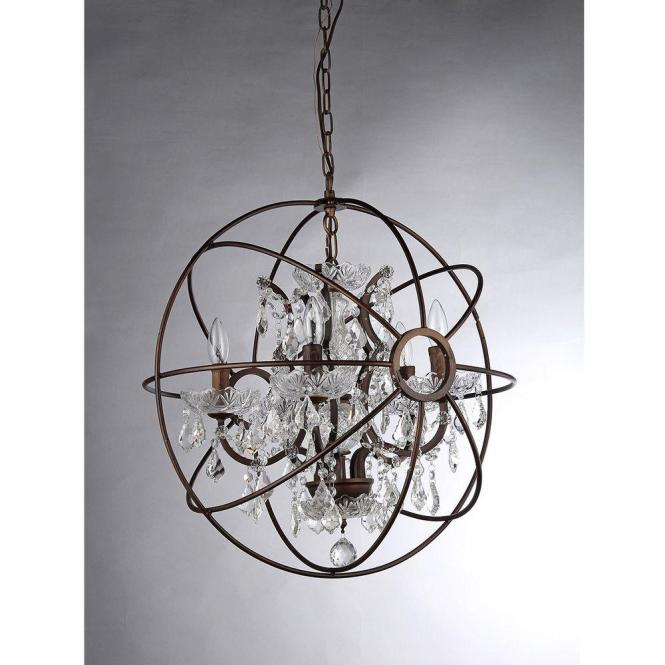 Warehouse Of Tiffany Planetshaker Spherical 6 Light Antique Bronze Chandelier With Shade