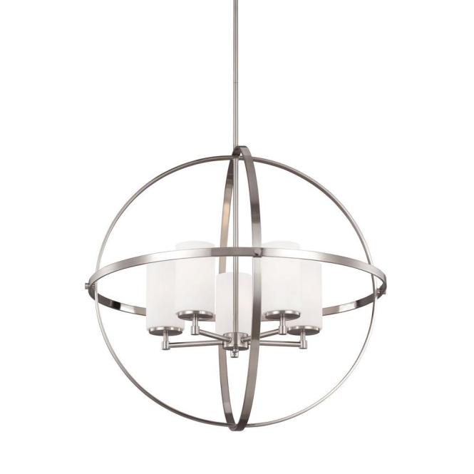 Sea Gull Lighting Alturas 5 Light Brushed Nickel Single Tier Chandelier With Satin Etched Glass Shades 3124605 962 The Home Depot