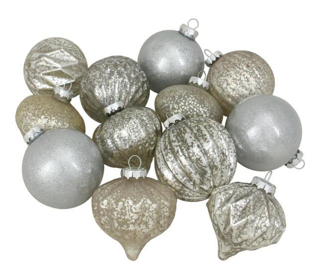 Mm Silver Mercury Glass Christmas Glass Ball And Onion