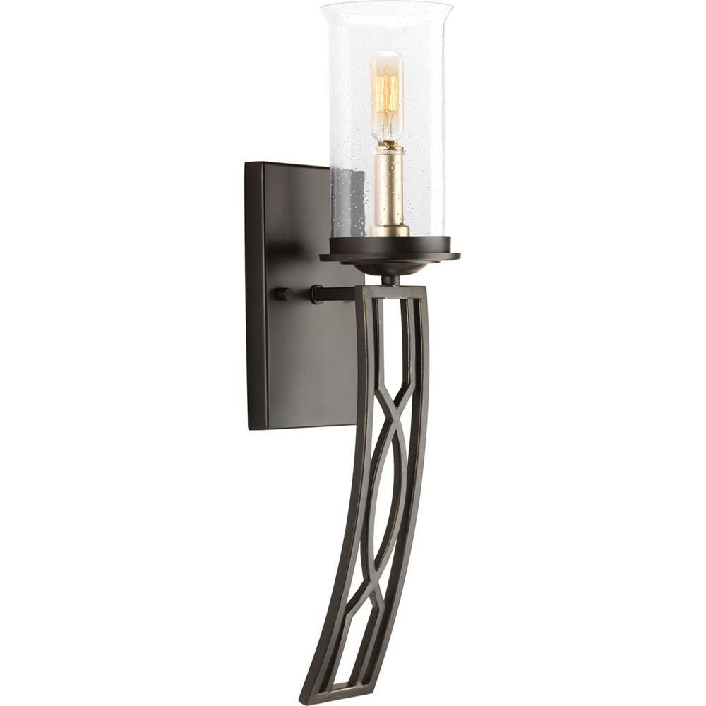 Progress Lighting Soiree Collection 1-Light Antique Bronze ... on Bathroom Sconce Lights Brushed Bronze id=46340