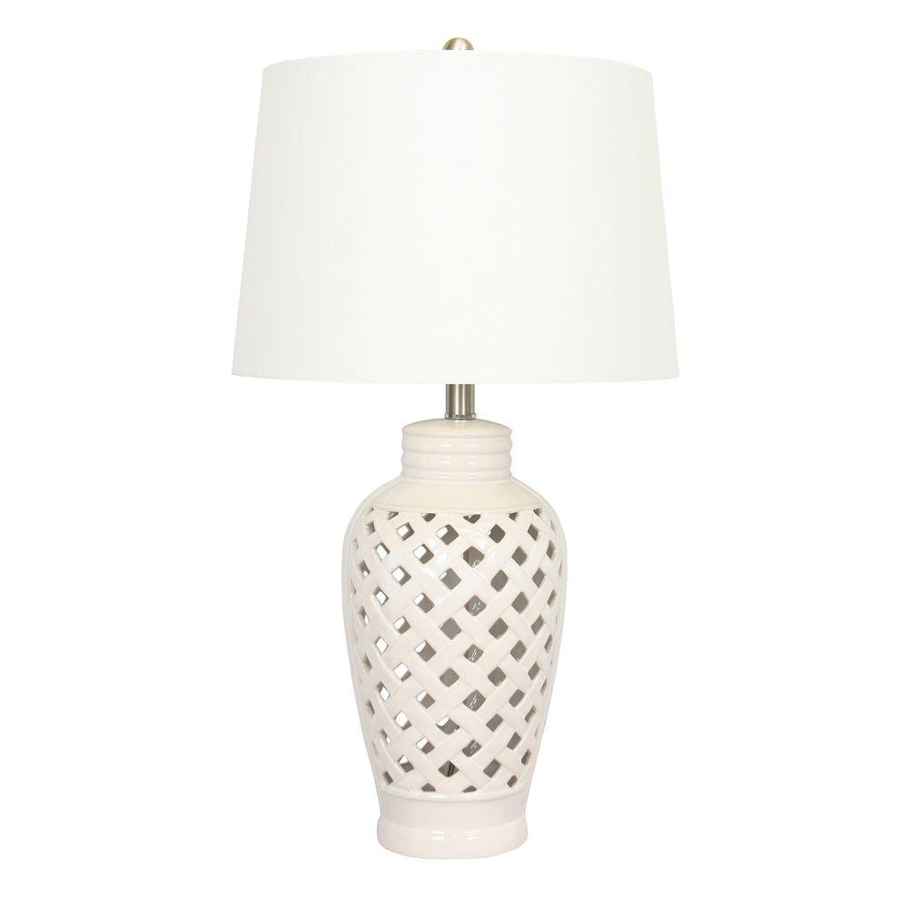 Fangio Lighting 26 In White Ceramic Table Lamp With Lattice Design 8827wh The Home Depot