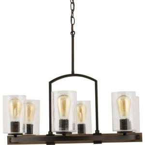 Newbury Manor Collection 6 Light Vintage Bronze Chandelier With Clear Seeded Glass Shade