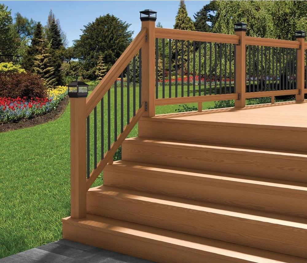 Deckorail Pressure Treated 6 Ft Cedar Tone Stair Deck Railing Kit | Pressure Treated Stair Handrail | Sturdy | Step | Deck Rail | Long Deck | Treated Lumber