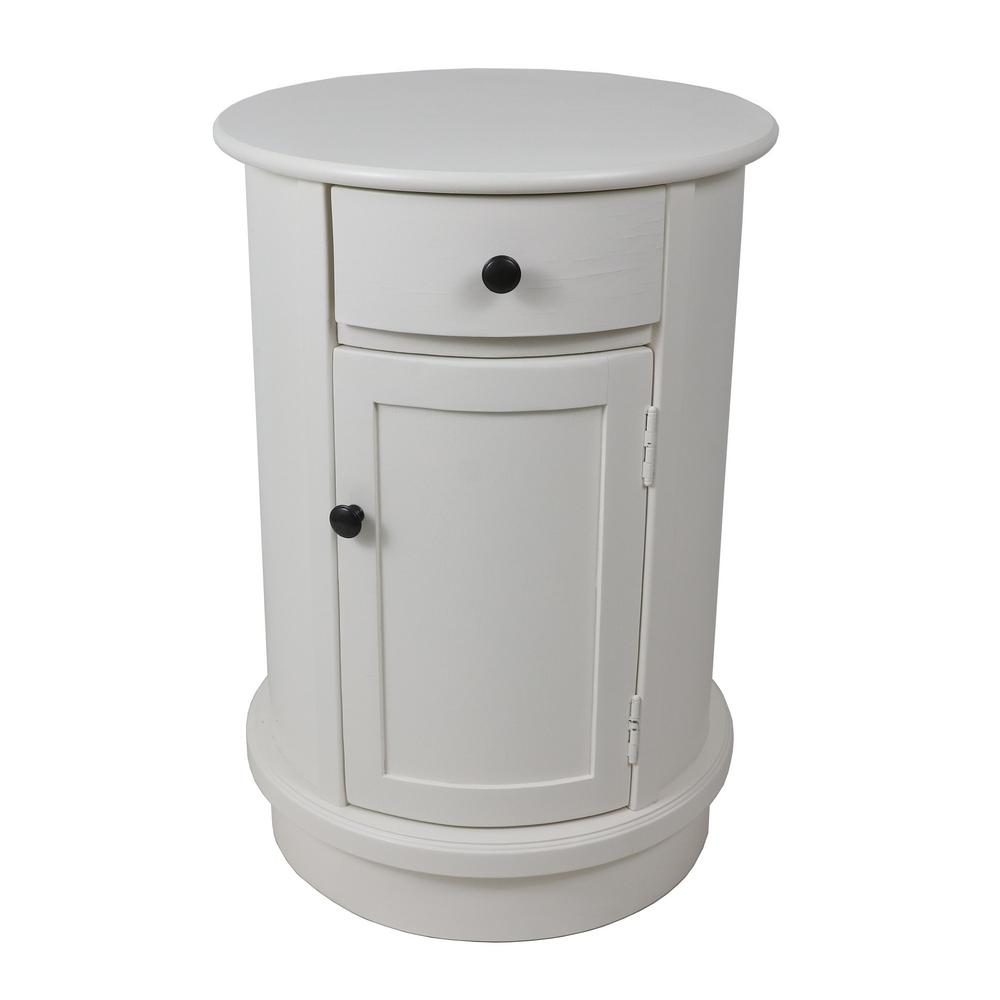 decor therapy keaton white round storage side table fr11047 the home depot