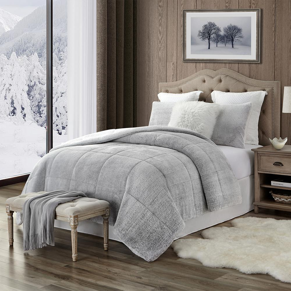 swift home premium ultra soft 3 piece grey faux fur reverse to sherpa king california king comforter and sham set shcm3 002 kckgr the home depot