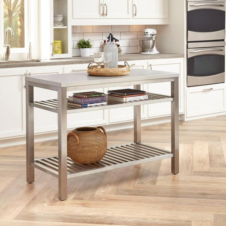 home styles brushed satin stainless steel kitchen island-5617-94