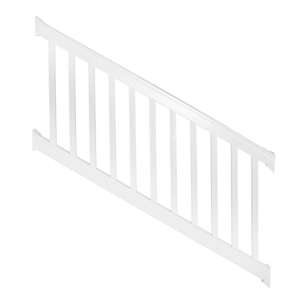 Weatherables Vanderbilt 3 Ft H X 8 Ft W White Vinyl Stair   Wood Stair Railing Home Depot   Deck   Rail Kit   Porch   Oak Stair   Box Newel Post