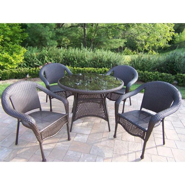 outdoor resin wicker patio furniture sets Oakland Living Elite Resin Wicker 5-Piece Patio Dining Set