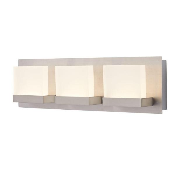 Home Decorators Collection Alberson Collection 3 Light Brushed     Home Decorators Collection Alberson Collection 3 Light Brushed Nickel LED Vanity  Light with Frosted Acrylic